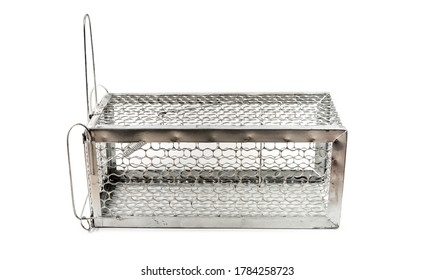aluminium cage mousetrap isolated on white background