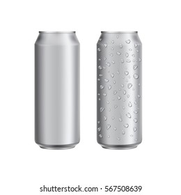Aluminium can drink soad or beer package template. Realistic 3d mockup. Ready for design. Raster illustration.