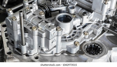 Aluminium case and parts form car gear tramsmission ; close up