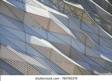 aluminium composite panels or cladding with perforated sheets on modern building facade