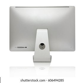 Aluminium computer all in one, isolated on a white background. View from the back.