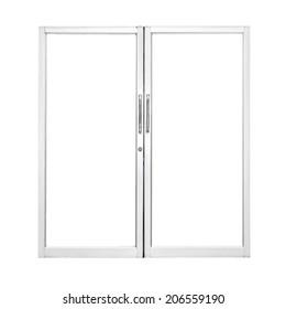 Aluminium door with isolated background