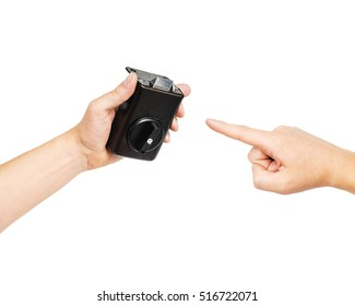 Aluminium door knob on isolated white background, hands hold old lock on the door, automatic lock for the door exploded in a man's hand