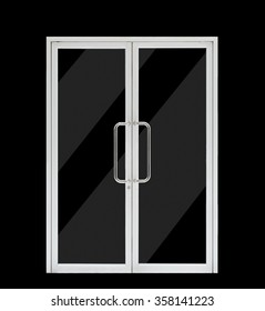 aluminium double open door, isolated on black background, clipping path