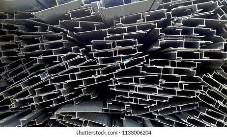 Aluminium extruded scraps waiting for recycle.