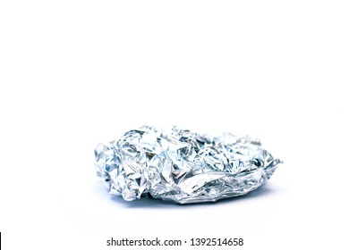 Aluminium foil ball trash isolated
