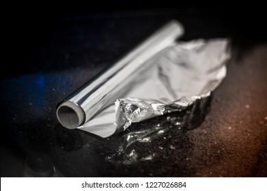 Aluminium Foil Tin Foil Roll on marble kitchen counter