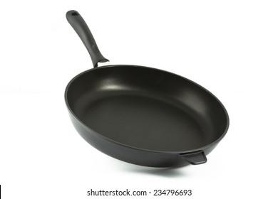 Aluminium fry pan isolated against white background