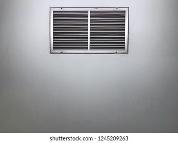 Aluminium grill in grey color on wall for air ventilation and diffuser, air condition duct component
