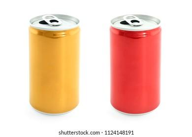 Aluminium or metallic cans isolated on white background