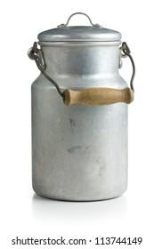 aluminium milk can on white background