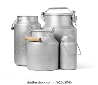 aluminium milk can on white background with clipping path