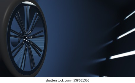 Aluminium on shadow and light rim of luxury car wheel. Various material and background