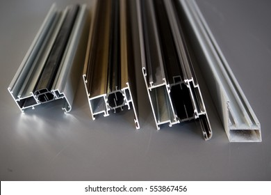 aluminium protruded profile for windows and doors manufacturing .selective focus