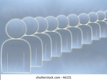 Aluminium queue of people