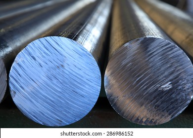 Aluminium rods molded for further production.