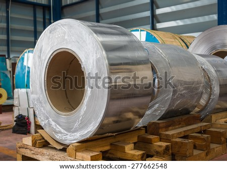 Aluminium rolled products or aluminium coils in storage area, conductor raw material