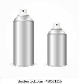 Aluminium Spray Can Template Blank. Front View. illustration