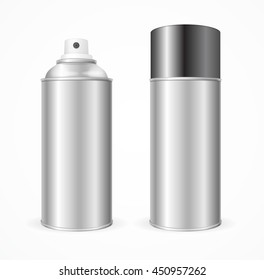 Aluminium Spray Can Template Blank. Mock Up For Your Design. illustration