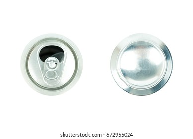 Aluminium White Beer Can, top and under side, Silver cap, Open beer cans isolated on white background