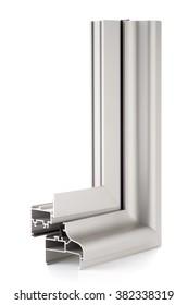 Aluminium window sample isolated on white background.