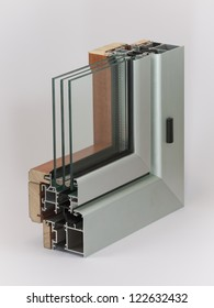 Aluminium window with wooden wrap sample