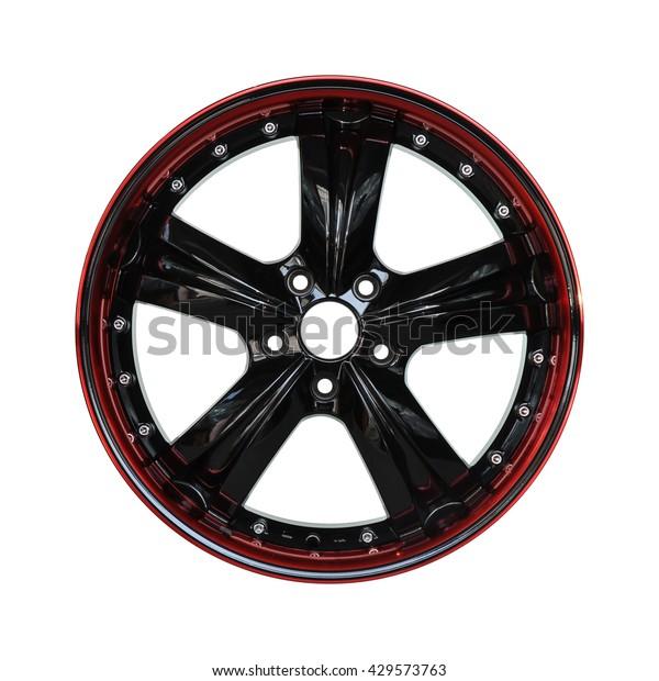 Aluminum Alloy Black Red Car Rim Stock Photo (Edit Now