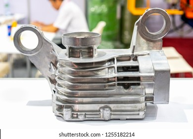 aluminum alloy body or head cylinder for engine part of automobile vehicle or Lawn mower before machining made from high pressure die casting process on table