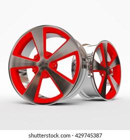 Aluminum Alloy rims, Car rims. 3D rendering.