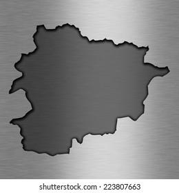 Aluminum background with map - Andorra
