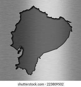 Aluminum background with map - Ecuador