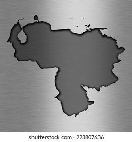 Aluminum background with map - Venezuela