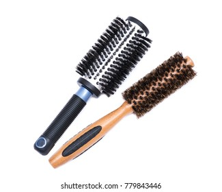 Aluminum barrel round, natural bamboo hairbrushes with wild boar bristles isolated on white background