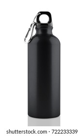 Aluminum bottle water isolated white background with clipping path