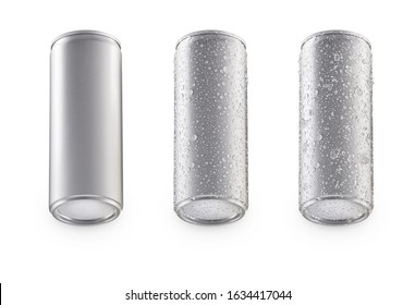 Aluminum bottom cans isolated on white background.bottom canned with water drops.bottom canned with water drops and ice.canned under view