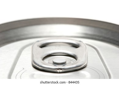 aluminum can abstract macro, highkey top view with shallow depth of field and focus on the... little round pin thing.