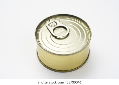 aluminum can, canned food isolated over white background