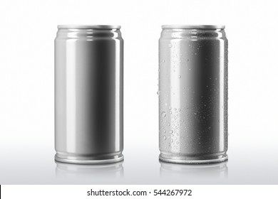 Aluminum can and Cans with condensation drop water on isolated white background,Cans Mock-up