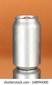Aluminum can on color background
