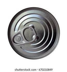 Aluminum Can with Pull Tab, Close-Up from Above On White Background,