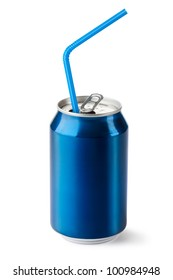 Aluminum can with the ring pull and straw. Isolated on a white.