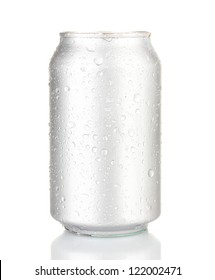 Aluminum can with water drops isolated on white