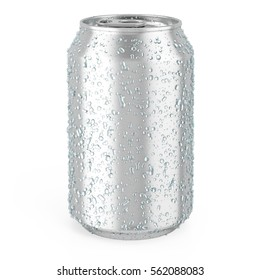 aluminum can with water drops isolated on white. 3d illustration