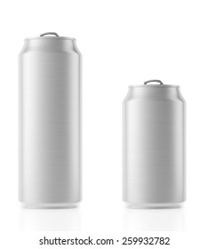 Aluminum cans with copy space isolated on white