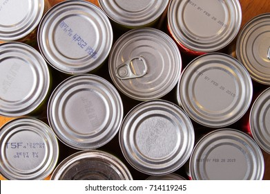 Aluminum cans of food