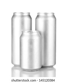 Aluminum cans isolated on black