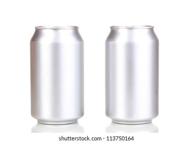 aluminum cans isolated on white