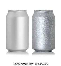 aluminum cans isolated on white background