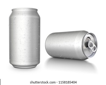 Aluminum cans on white background