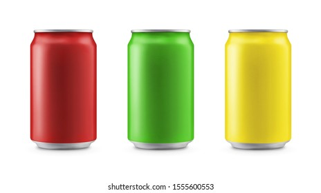 Aluminum cans in red,green,yellow isolated on white background